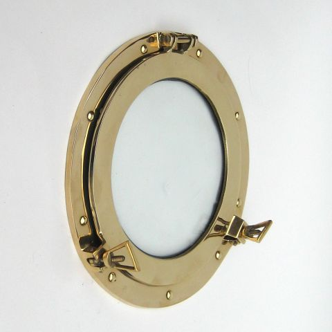 Antiques 20 Inch Diameter Maritime Portholes & Hatches Nickel Porthole Mirror