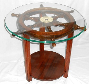 Solid Mahogany And Teak Shipu0027s Wheel End Table