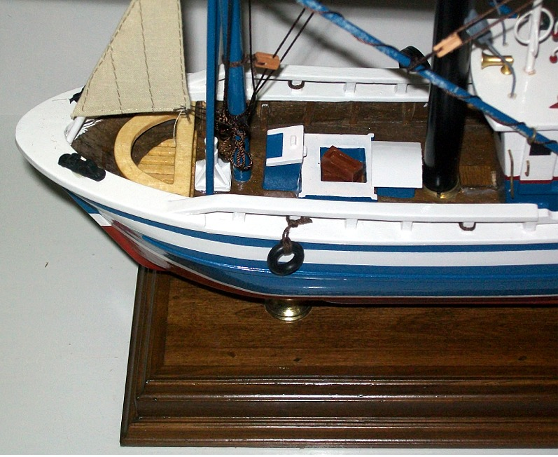 Please Note: The Hull Is A Blue/green In Natural Light And Appears Blue  When Photographed.   We Have No Explanation For This. Fishing Trawler Table  Lamp