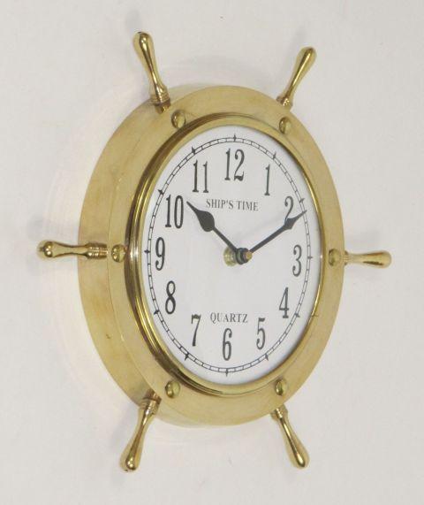 Brass Shipu0027s Wheel Wall Clock